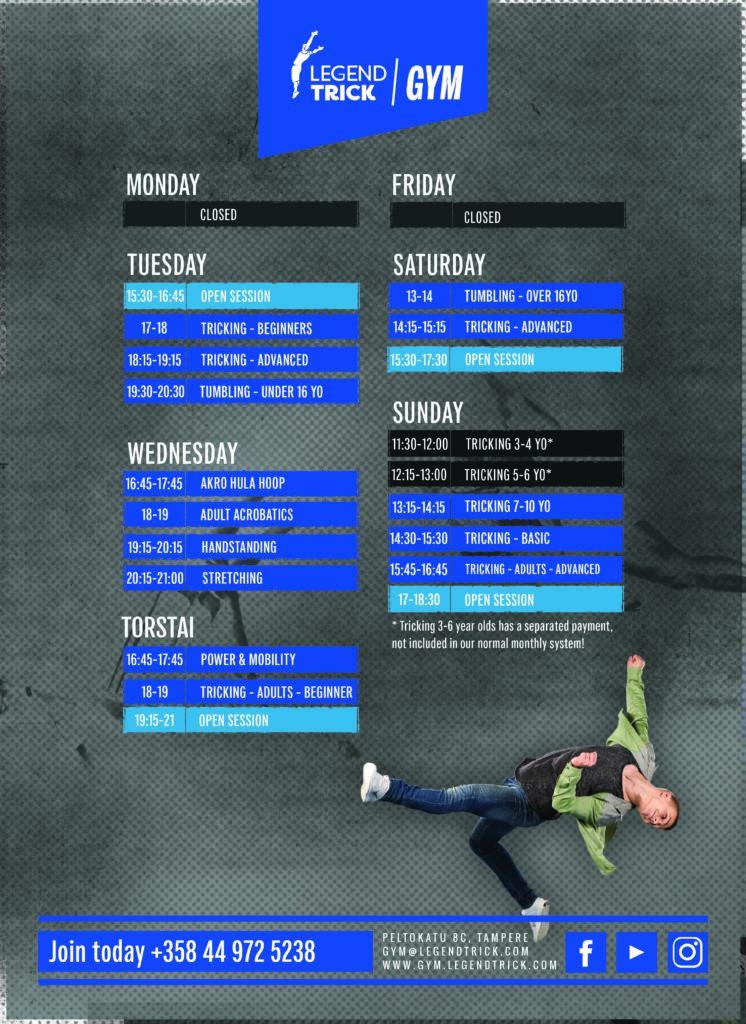Schedule 2020 spring - LegendTrick Gym